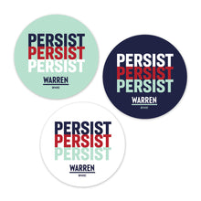 Three circular stickers each with the word PERSIST stacked three times. One of each color: navy background, white background, and liberty green background