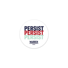 Circular sticker with the word PERSIST stacked three times. White background with PERSIST in navy, red, and Liberty green