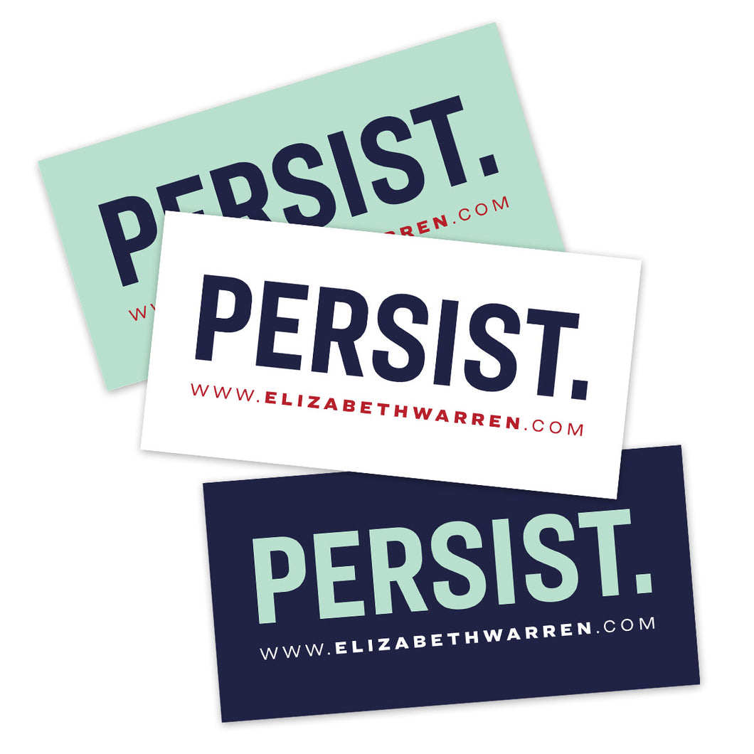 Three rectangular stickers that say PERSIST, one with a liberty green background, one with a white background, one with a navy background.