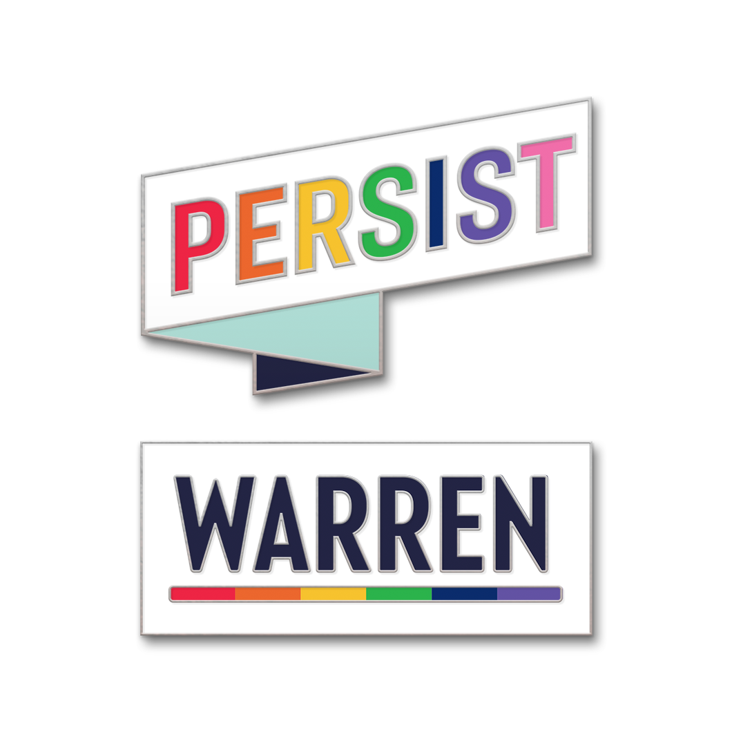 Two pins, one white rectangular pin with the WARREN logo with WARREN in navy and the line beneath it in rainbow (six segments, each a different color) and one white pin in the shape of a ribbon with the word PERSIST and each letter is a different color from the pride flag.