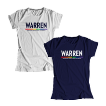 "Load image into Gallery viewer, Two fitted t-shirts, one in navy and one in platinum gray, with the WARREN logo with the line beneath in rainbow. Beneath the logo is a line of text that says ""dream big. fight hard. live proud"". WARREN is in white on the navy shirt and navy on the platinum gray shirt."