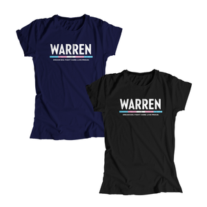 "Two fitted t-shirts, one in navy and one in black with the WARREN logo. WARREN is in white and the line beneath it is the colors of the transgender pride flag. Beneath the logo is a line of text that says ""dream big. fight hard. live proud"". (1666066055277)"