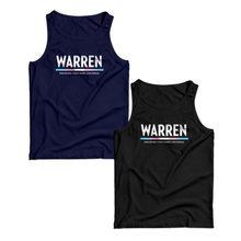"Two unisex tank tops, one in navy and one in black with the WARREN logo. WARREN is in white and the line beneath it is the colors of the transgender pride flag. Beneath the logo is a line of text that says ""dream big. fight hard. live proud""."