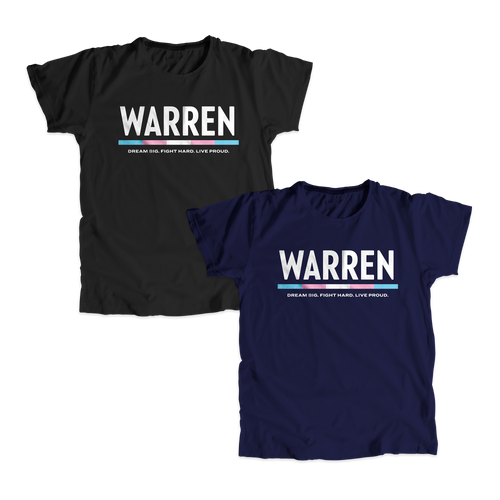 6bc266f8 Two unisex t-shirts, one in navy and one in black with the WARREN