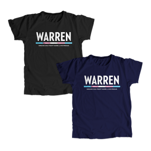"Two unisex t-shirts, one in navy and one in black with the WARREN logo. WARREN is in white and the line beneath it is the colors of the transgender pride flag. Beneath the logo is a line of text that says ""dream big. fight hard. live proud"". (1664120586349)"