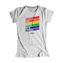 Load image into Gallery viewer, Platinum gray fitted tank with the words, dream big fight hard live proud, stacked at left in each color of the rainbow with a band of color following each word (1665898741869)