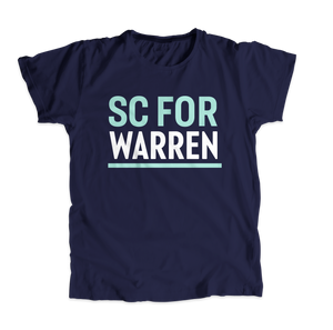 South Carolina For Warren Navy Unisex T-shirt with liberty green and white text. (4510872895597)