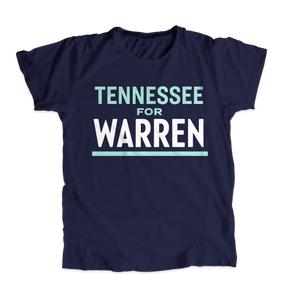 Tennessee For Warren Navy Unisex T-shirt with white and liberty green text. (4510875287661)