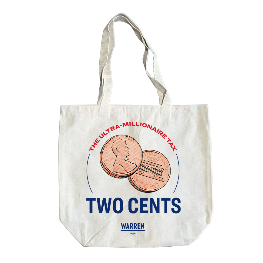 Natural tote with an illustration of two pennies in the middle and the copy