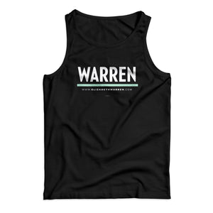 Unisex tank top in black with WARREN logo in white with liberty green underline (1642414276717)