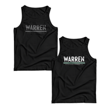 Two unisex tank tops in black, one with a gray WARREN logo, one with a white and liberty green WARREN logo