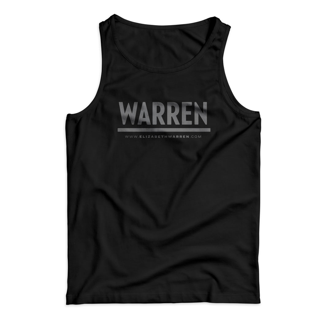 Unisex tank in black with gray WARREN logo