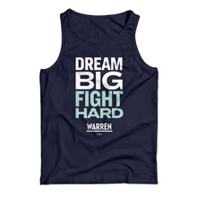 "Load image into Gallery viewer, Unisex tank top in navy with the phrase ""dream big fight hard"" in white and liberty green"