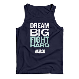 "Unisex tank top in navy with the phrase ""dream big fight hard"" in white and liberty green"