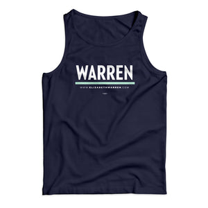 Unisex tank top in navy with white WARREN logo with liberty green underline