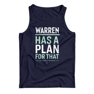 Navy unisex tank top with the phrase, Warren has a plan for that, with the lines alternating in white and liberty green (1642428235885)