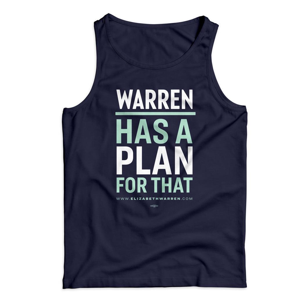 Navy unisex tank top with the phrase, Warren has a plan for that, with the lines alternating in white and liberty green