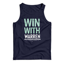 "Unisex tank top in navy with the phrase ""win with Warren"" in Liberty green and white"