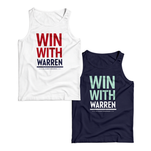 "Two unisex tank tops, one in navy with the phrase ""win with Warren"" in red and navy and one in navy with the phrase ""win with warren"" in liberty green and white"