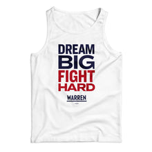Load image into Gallery viewer, Unisex tank top in white with the phrase, dream big fight hard, in navy and red (1642424139885)