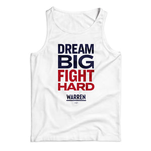 "Unisex tank top in white with the phrase ""dream big fight hard"" in navy and red"