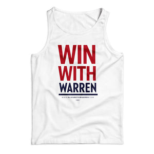 "Unisex tank top in white with the phrase ""win with Warren in red and navy"" (1642421354605)"