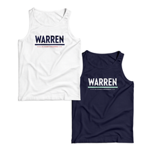 Two unisex tanks, one in white with navy WARREN logo and one in navy with the white WARREN logo with liberty green underline