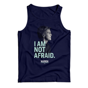 "Navy unisex tank with a profile photo of Elizabeth Warren and the phrase ""I am not afraid"" in liberty green all caps type"