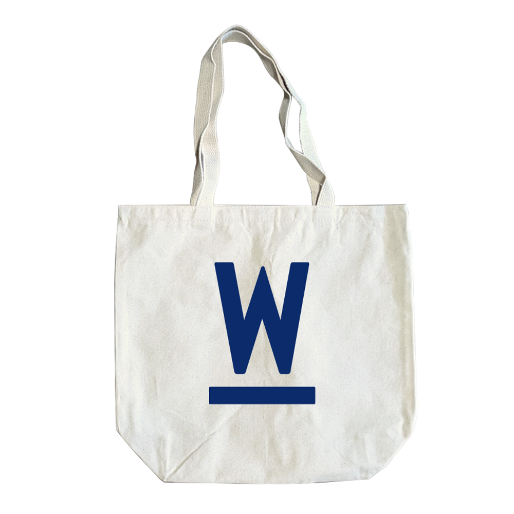 Natural canvas tote with navy Warren