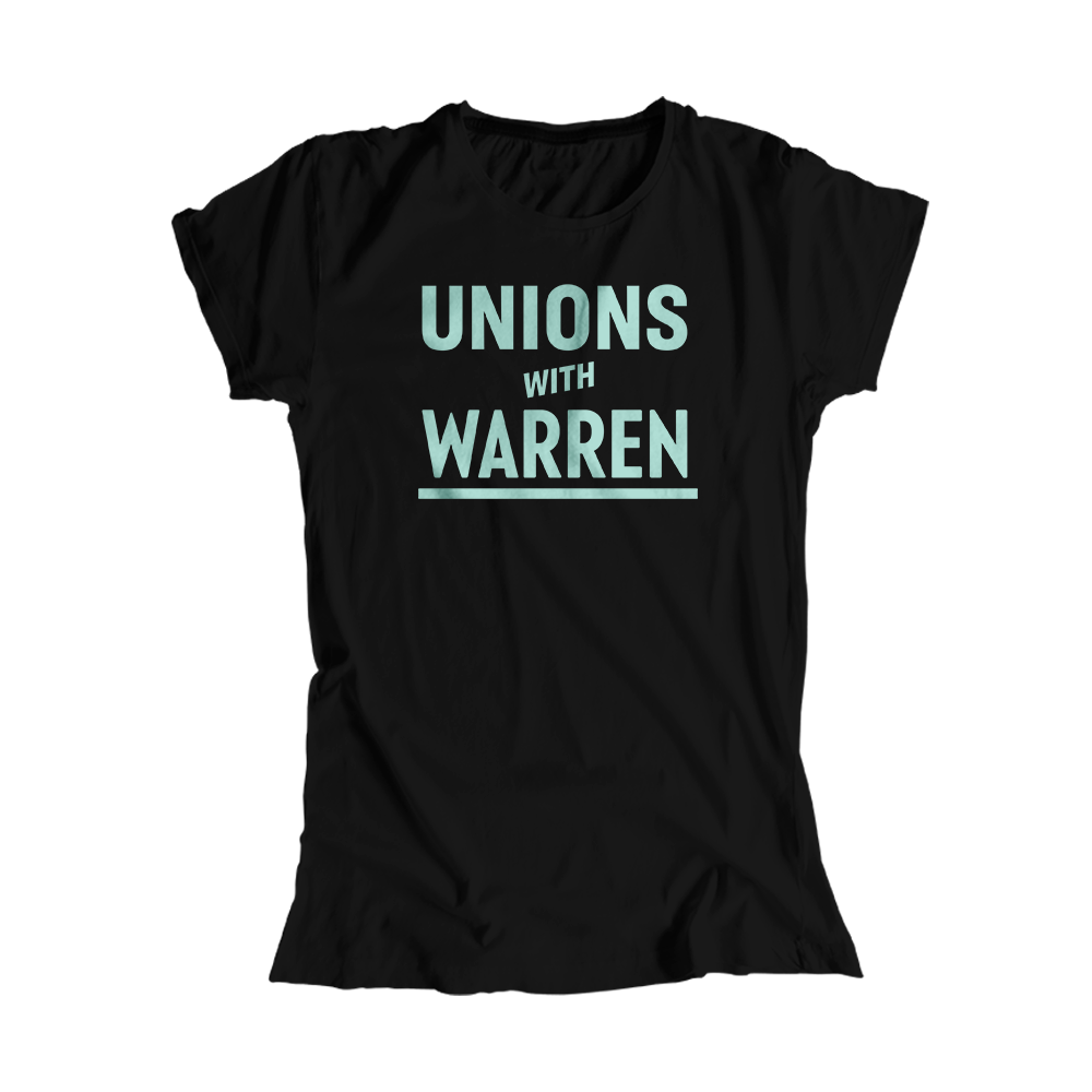 Unions with Warren Black Fitted T-Shirt with liberty green text. (4517821710445)