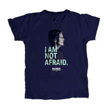Load image into Gallery viewer, I Am Not Afriad Unisex T-Shirt in Navy featuring a profile shot of Elizabeth Warren's face. (4050784583789)