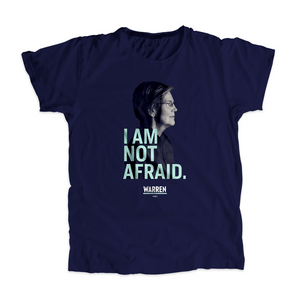 I Am Not Afriad Unisex T-Shirt in Navy featuring a profile shot of Elizabeth Warren's face. (4050784583789)