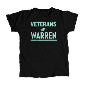 Veterans with Warren Black Unisex T-shirt with Liberty Green type. (4455136559213)
