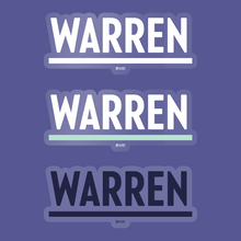 Load image into Gallery viewer, 3-pack of Warren Vinyl Die-Cut Stickers in White, Navy, and White and Liberty Green.