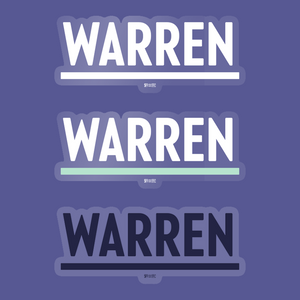 3-pack of Warren Vinyl Die-Cut Stickers in White, Navy, and White and Liberty Green.