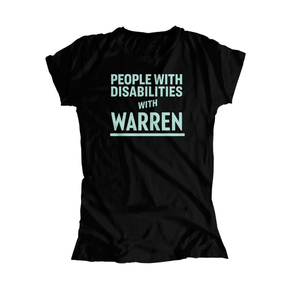 People with Disabilities with Warren Black Fitted T-Shirt with Liberty Green Type.