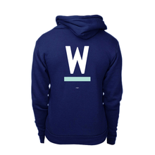 Load image into Gallery viewer, Back view of Warren W Minimalist Navy Hoodie with white and liberty green print. (4412631679085)