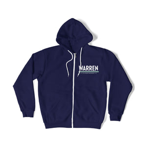 "Front view of Warren ""W"" Minimalist Navy Hoodie."