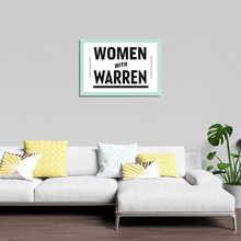 A white poster with a liberty green outline. Women with Warren is written in black in the center.