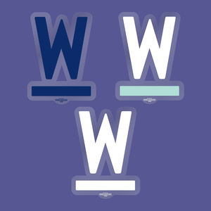 Warren W Window Sticker 3-pack in Navy. White/White and White/Liberty Green.