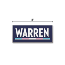 Load image into Gallery viewer, Navy rectangular pin with the WARREN logo with WARREN in white and the line beneath it in the transgender pride flag colors (five segments total) (3928571412589)
