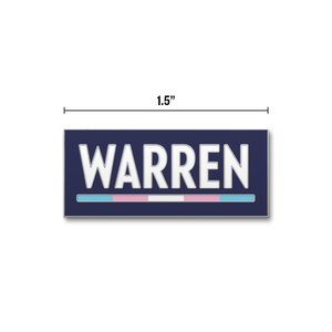Navy rectangular pin with the WARREN logo with WARREN in white and the line beneath it in the transgender pride flag colors (five segments total)