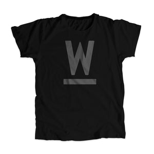 "Warren ""W"" Minimalist Unisex T-Shirt in Black."