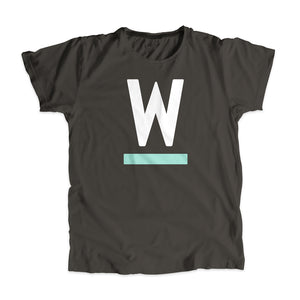 "Warren ""W"" Minimalist Unisex T-Shirt Asphalt and White."