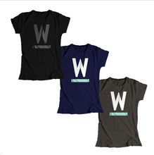 Load image into Gallery viewer, Warren W Minimalist Fitted T-Shirts in three colors options: Black with black type, navy with white and liberty green type, and gray with white and liberty green. (4361825255533)