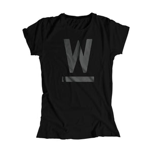 Warren W minimalistic fitted T-Shirt in Black and black type.. (4361825255533)