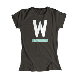 Warren W minimalistic fitted T-Shirt in Asphalt with White and liberty green type.. (4361825255533)