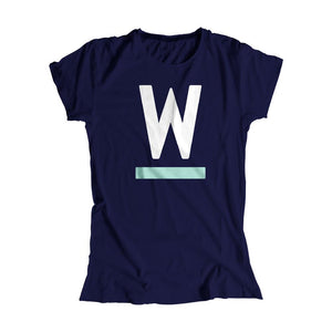Warren W minimalistic fitted T-Shirt in Navy with White and liberty green type.. (4361825255533)