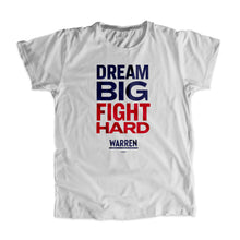 Load image into Gallery viewer, Gray Dream Big, Fight Unisex T-Shirt with navy and red type. (1518922596461)