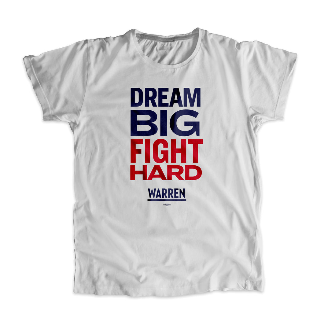 Gray Dream Big, Fight Unisex T-Shirt with navy and red type. (1518922596461)